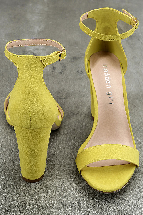 Madden Girl Beella Yellow Suede Ankle Strap Heels 3