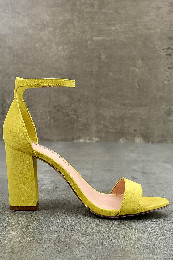 Madden Girl Beella Yellow Suede Ankle Strap Heels 4