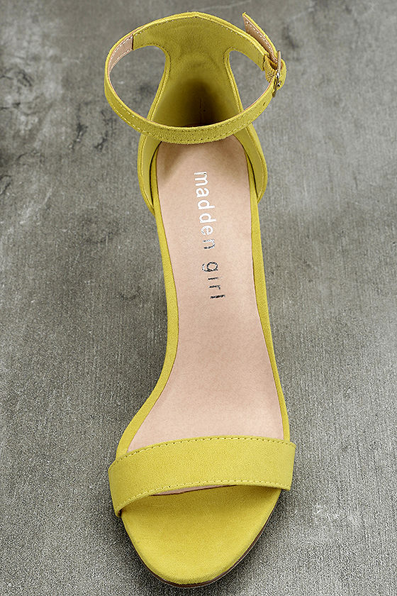 Madden Girl Beella Yellow Suede Ankle Strap Heels 5