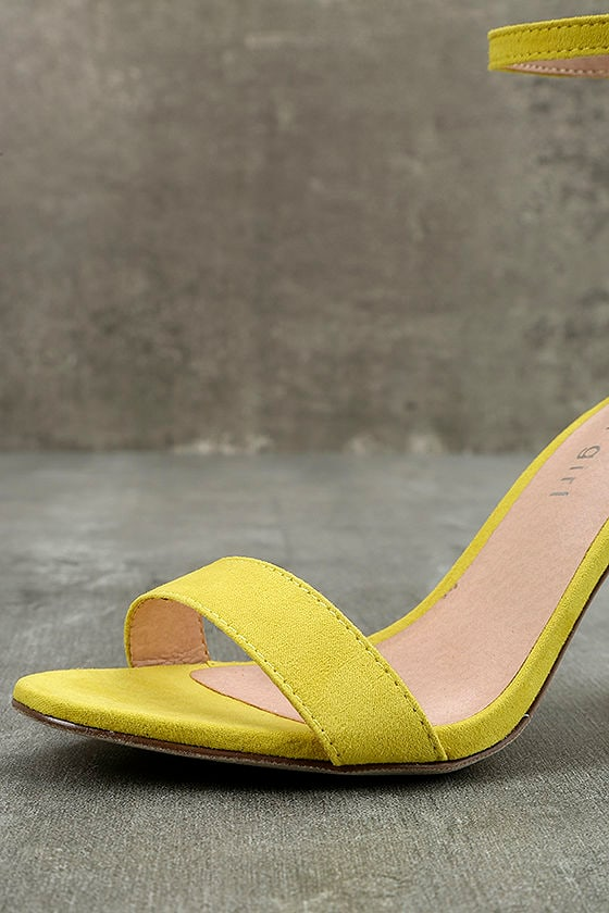 Madden Girl Beella Yellow Suede Ankle Strap Heels 6