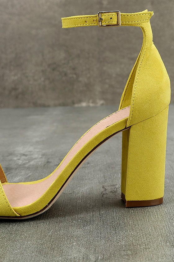 Madden Girl Beella Yellow Suede Ankle Strap Heels 7