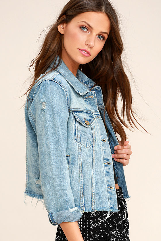 252abca5b4446 Chic Blue Denim Jacket - Distressed Jacket - Cropped Denim Jacket