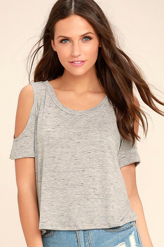 e8c4a364 Cute Grey Crop Top - Cold Shoulder Top - Cold Shoulder Crop Top - $24.00