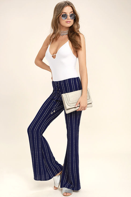 Touch of Flair Navy Blue Print Lace-Up Pants 1