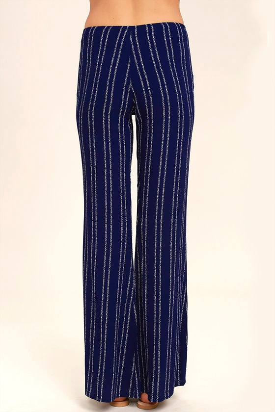 Touch of Flair Navy Blue Print Lace-Up Pants 4