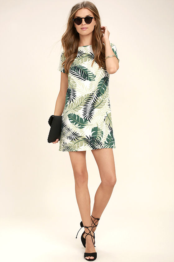 Give Me a Print Ivory and Green Print Shift Dress 2