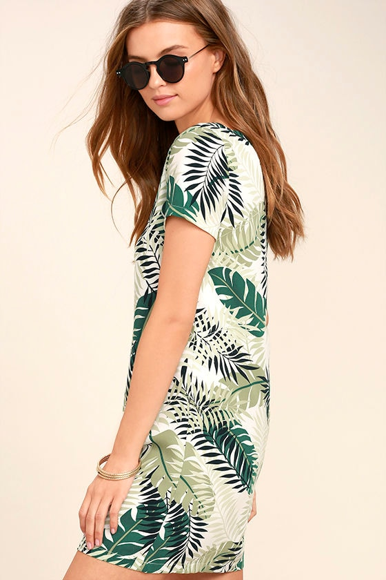 Give Me a Print Ivory and Green Print Shift Dress 3