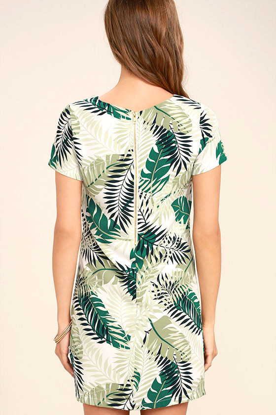 Give Me a Print Ivory and Green Print Shift Dress 4
