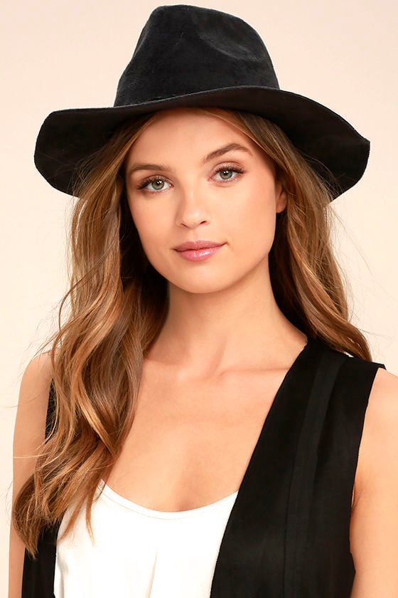 What I Like Black Suede Fedora Hat 1