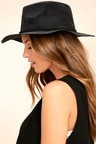 Boho Black Hat - Vegan Suede Hat - Fedora Hat -  20.00 10c9ba2632a