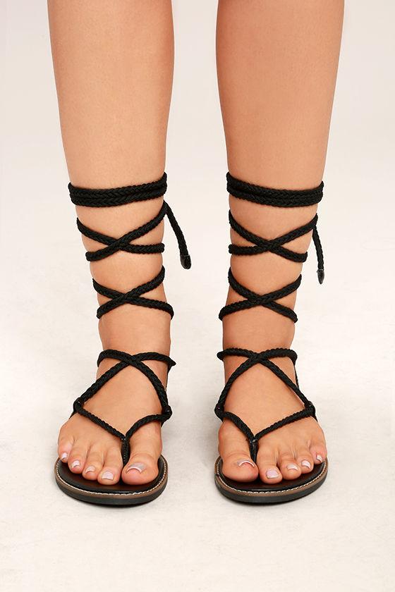 Madden Girl Juliie Black Lace-Up Sandals 2