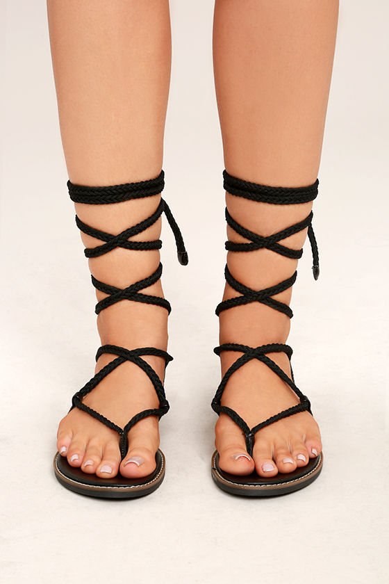 e10a3919d46 Madden Girl Juliie Black - Lace-Up Sandals - Leg-Wrap Sandals - Rope ...