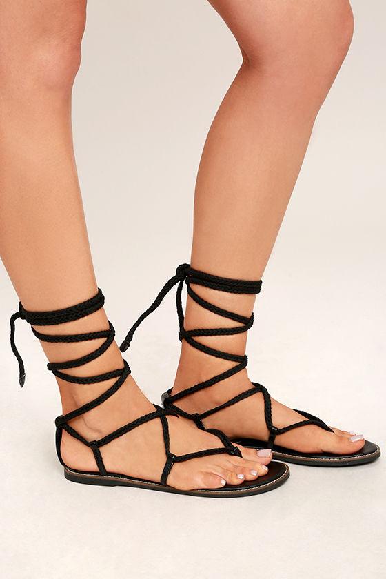 Madden Girl Juliie Black Lace-Up Sandals 3