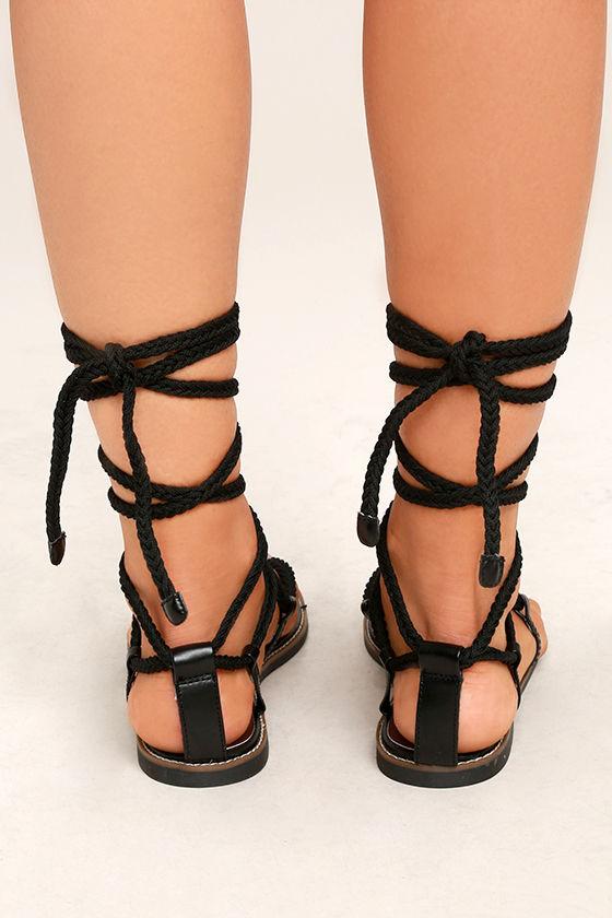 Madden Girl Juliie Black Lace-Up Sandals 4