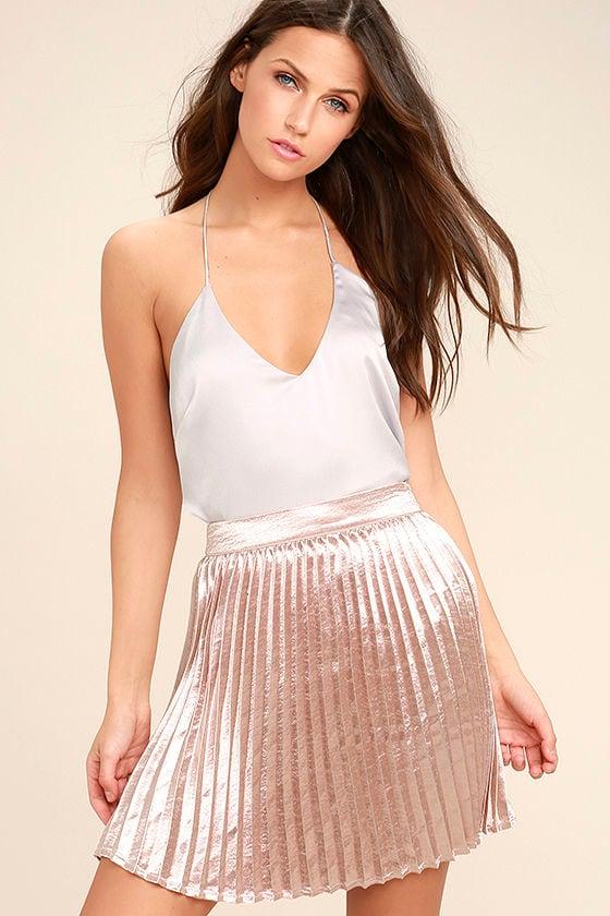 Swing Era Pink Satin Mini Skirt 1