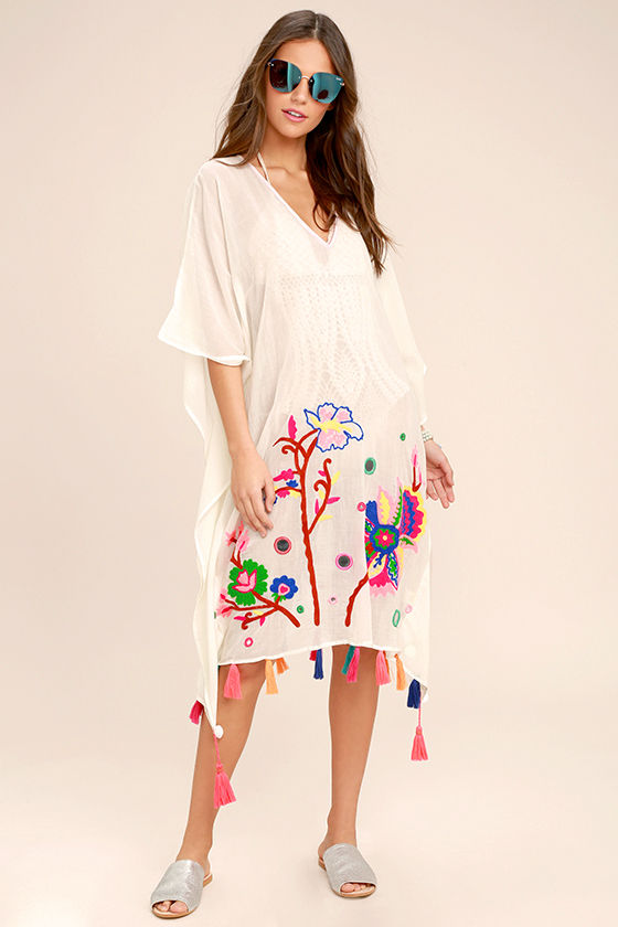 Cloudless Skies Cream Embroidered Cover-Up 1