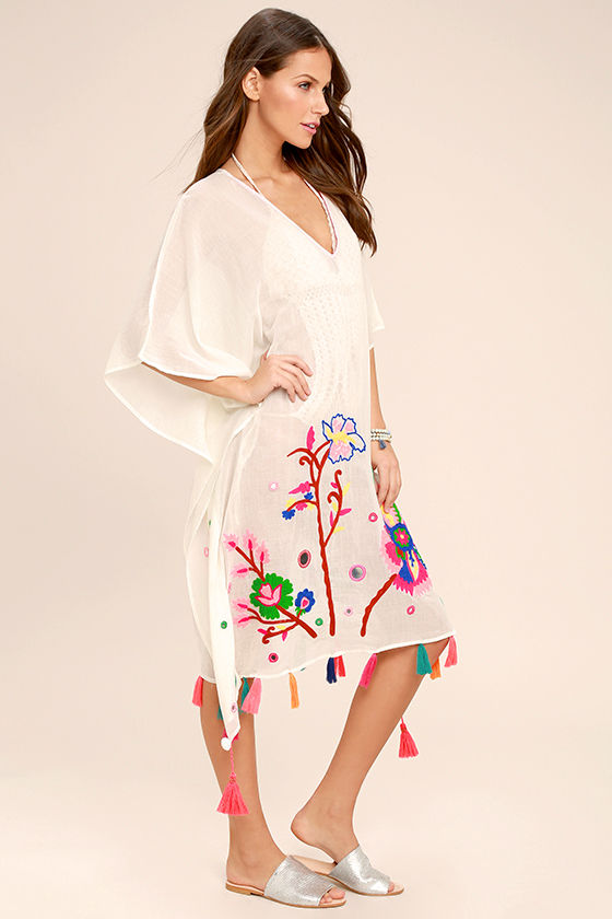 Cloudless Skies Cream Embroidered Cover-Up 2