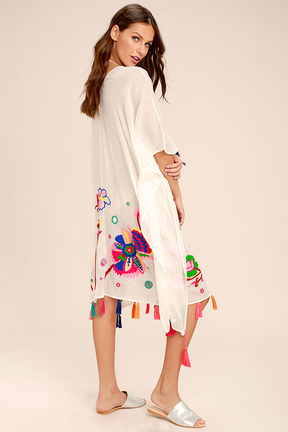 Cloudless Skies Cream Embroidered Cover-Up 3