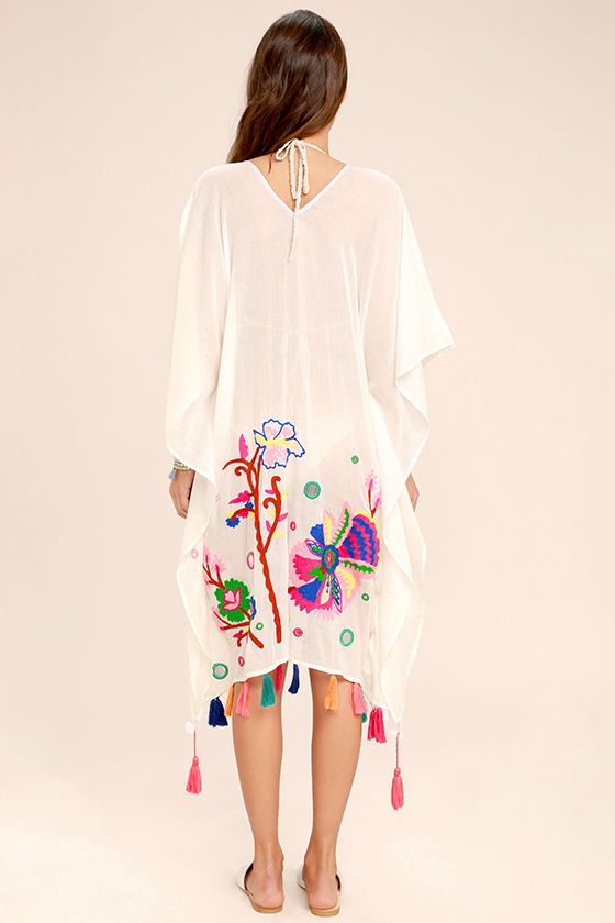 Cloudless Skies Cream Embroidered Cover-Up 4