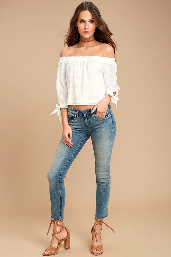 Tender Moments White Off-the-Shoulder Crop Top 2
