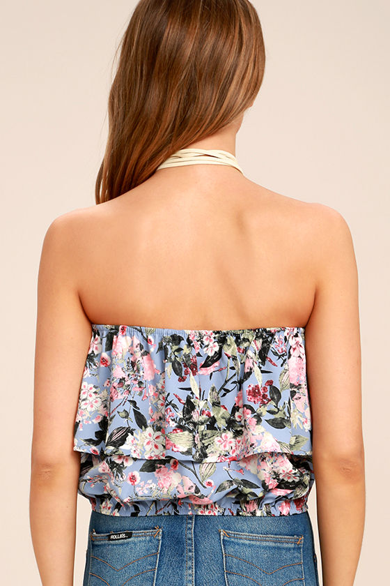 Move Freely Periwinkle Blue Floral Print Strapless Crop Top 4