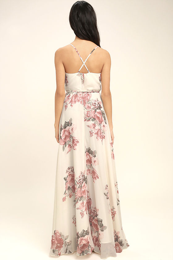 Lovely Cream Floral Print Dress Wrap Dress Maxi Dress