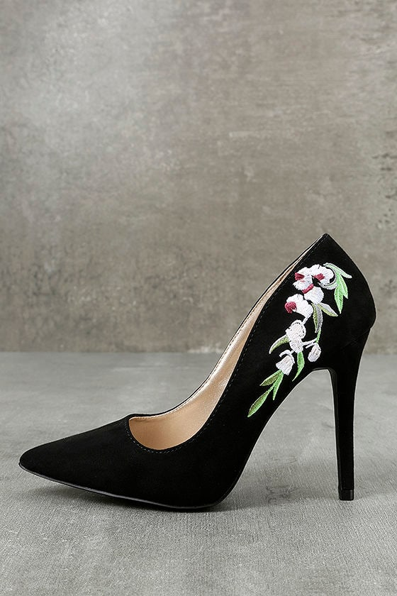 5924b42e7fc Circe Black Embroidered Pointed Pumps