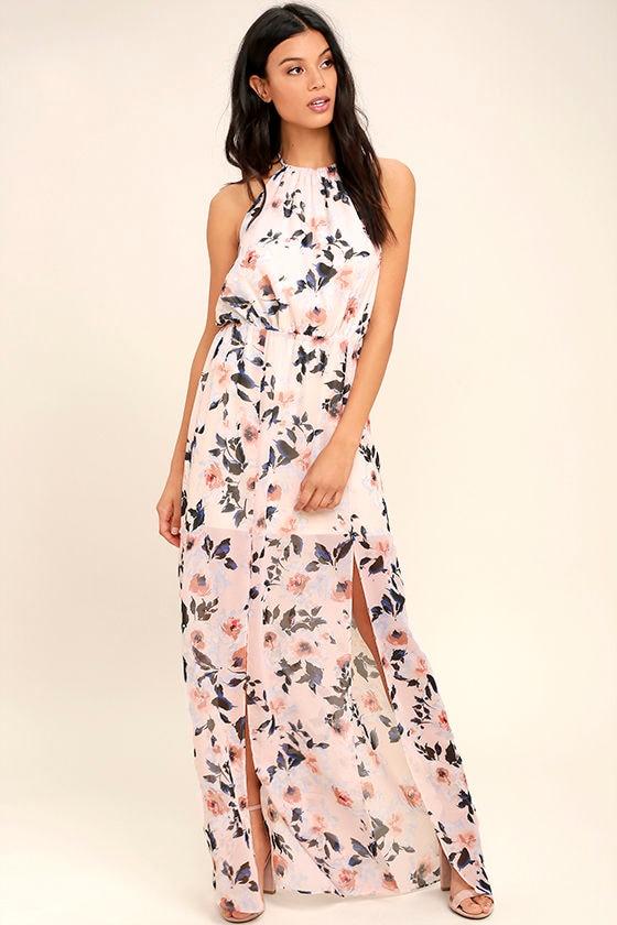 f5218d135404d Ali & Jay Al Fresco - Blush Floral Print Dress - Maxi Dress - Halter Dress