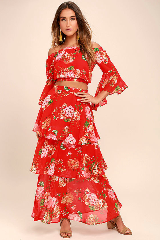 Lovely Red Floral Print Skirt - Maxi Skirt - Tiered Maxi Skirt ...