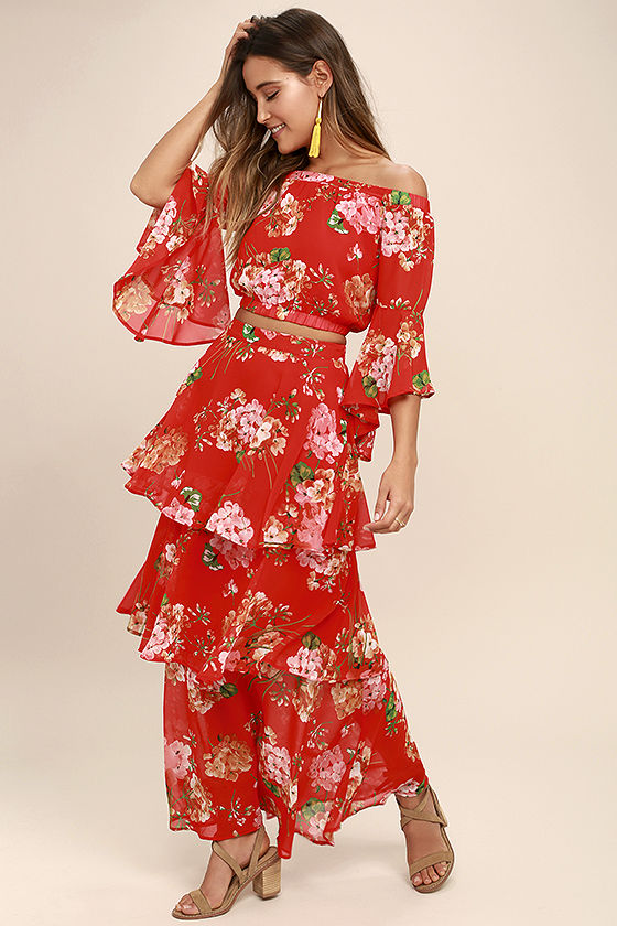 Carefully Cultivated Red Floral Print Maxi Skirt 3