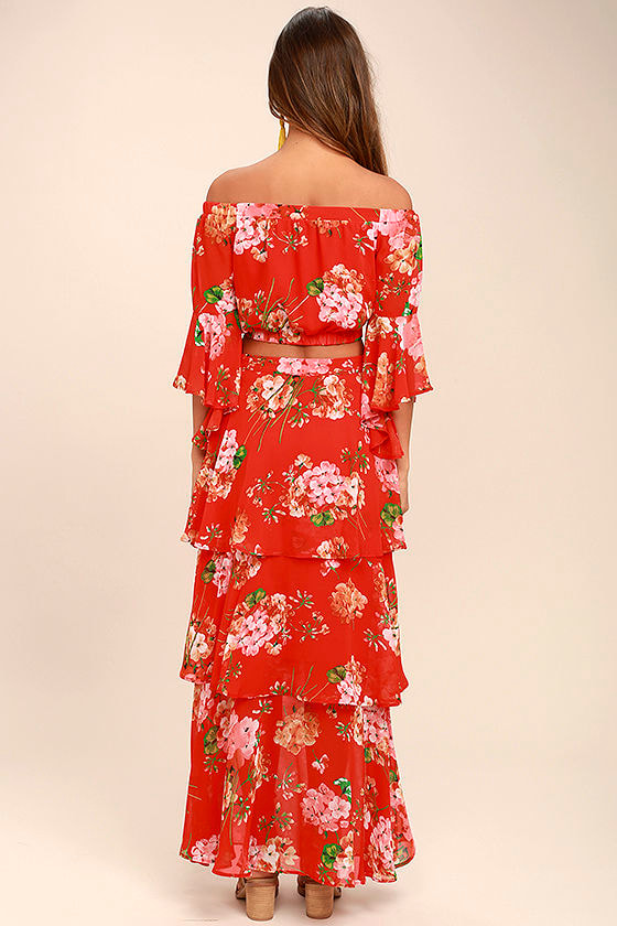Carefully Cultivated Red Floral Print Maxi Skirt 4