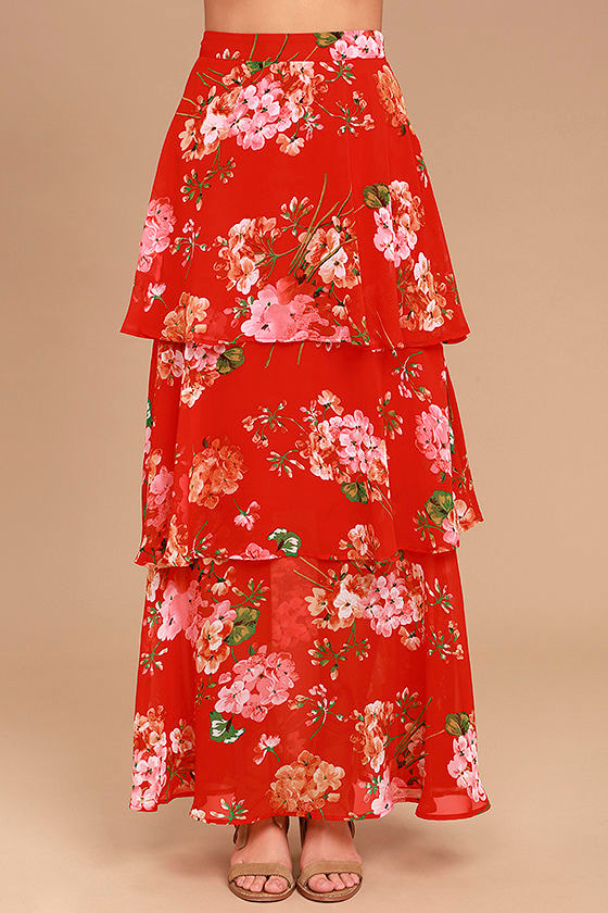 Carefully Cultivated Red Floral Print Maxi Skirt 5