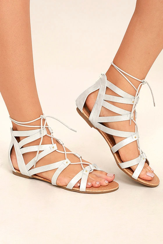 cd712db0d Cute Silver Sandals - Silver Lace-Up Sandals - Metallic Flat Sandals -   32.00