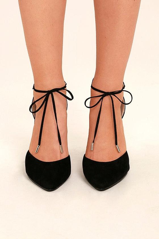 Leiden Black Lace-Up Heels 2