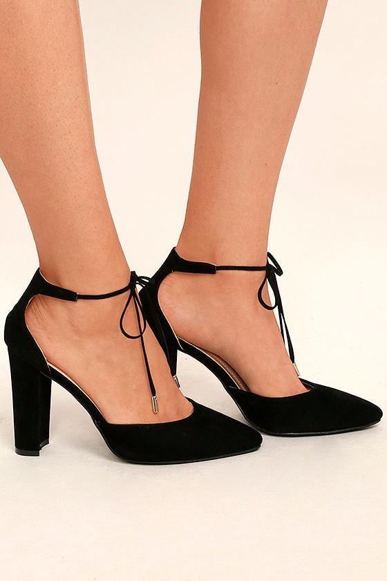 Leiden Black Lace-Up Heels 3