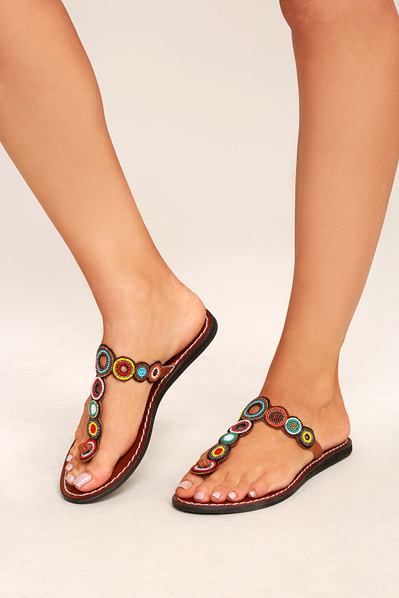 Mia Apache Bright Multi - Beaded Thong Sandals - Brown Leather Sandals -   69.00
