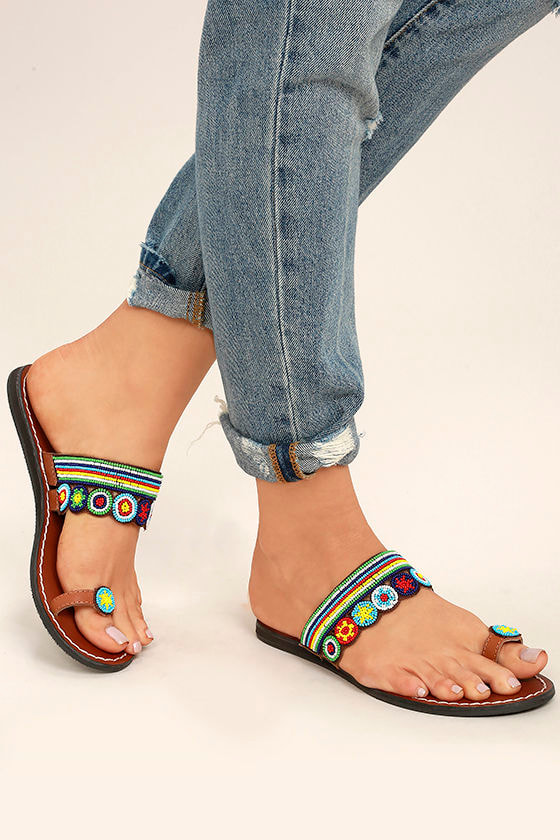 Mia Athens Brown Bright Multi Beaded Flat Sandals 1