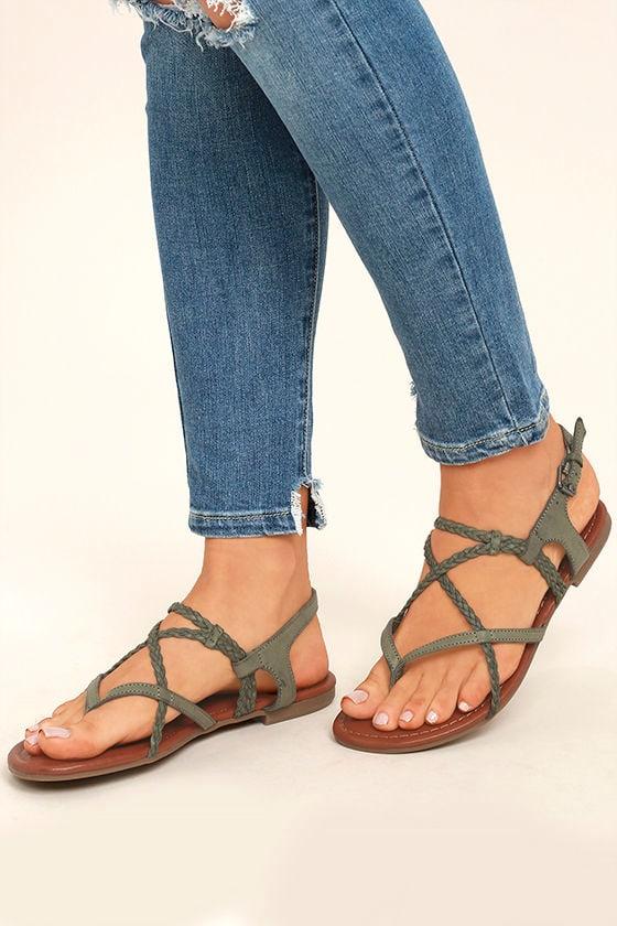 2dd54228514253 Mia Dannie Spring Khaki Sandals - Flat Sandals - Braided Sandals ...