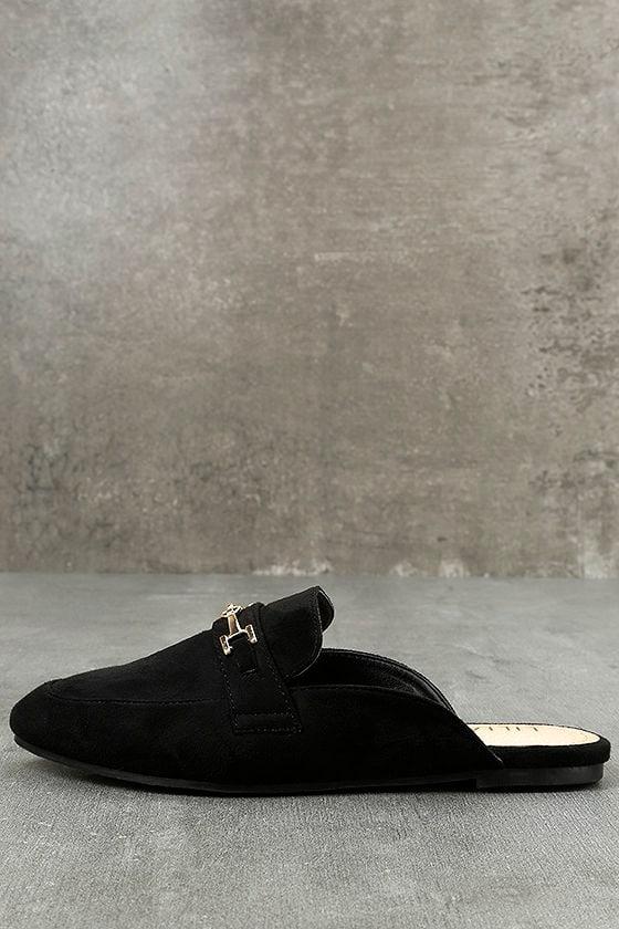 Nyssa Black Suede Loafer Slides 1