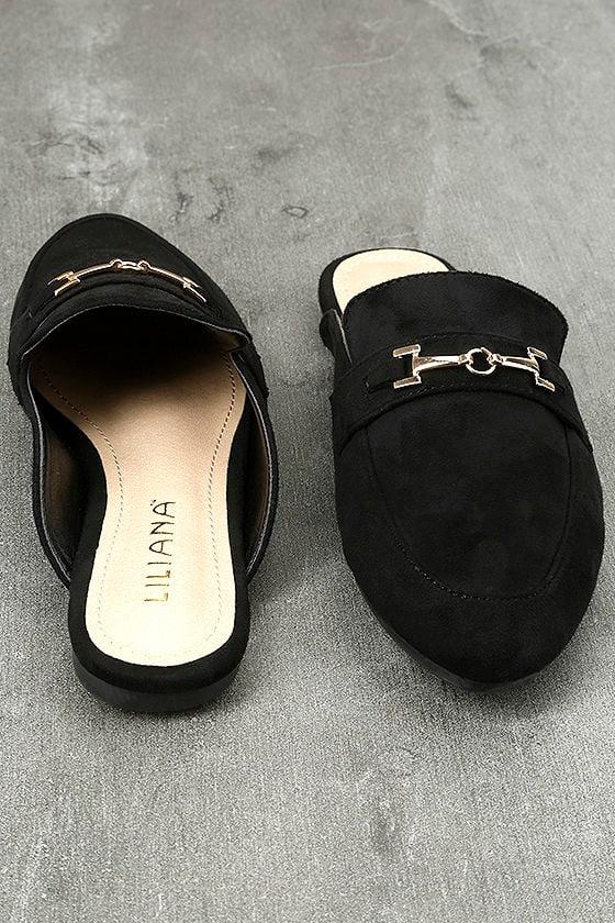 Nyssa Black Suede Loafer Slides 3