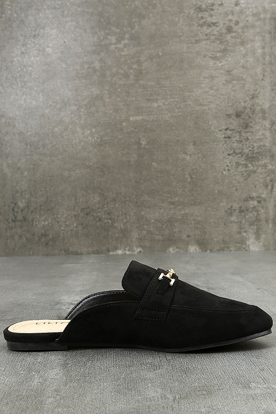 Nyssa Black Suede Loafer Slides 4