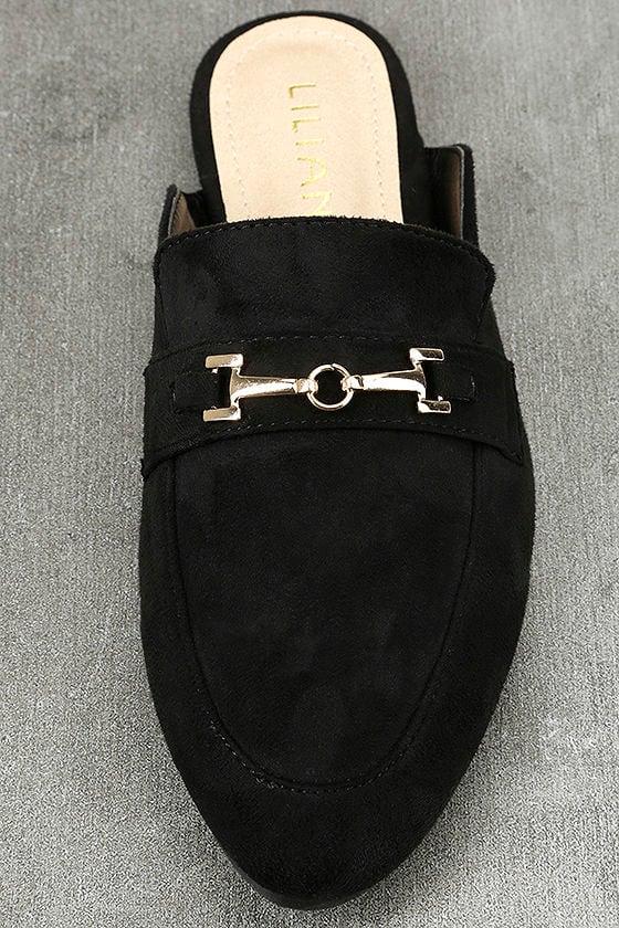 Nyssa Black Suede Loafer Slides 5