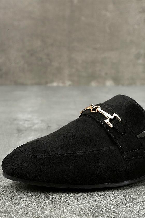 Nyssa Black Suede Loafer Slides 6
