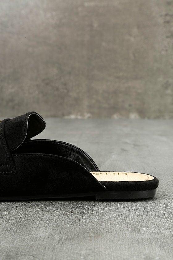 Nyssa Black Suede Loafer Slides 7