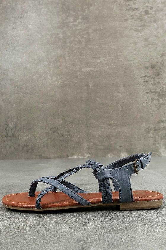 8566bc2df24f5a Mia Dannie Denim Blue Sandals - Flat Sandals - Braided Sandals -  49.00