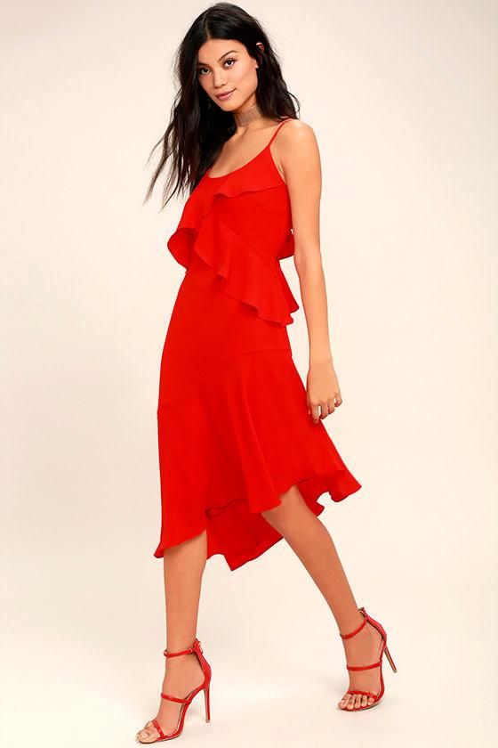 Adelyn Rae Desdemona Red Midi Dress