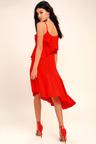 Lovely Red Midi Dress Asymmetrical Midi Dress Sleeveless Midi