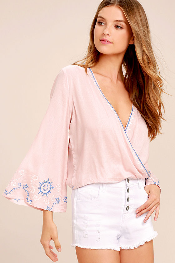 Zen Again Blush Pink Embroidered Crop Top 1