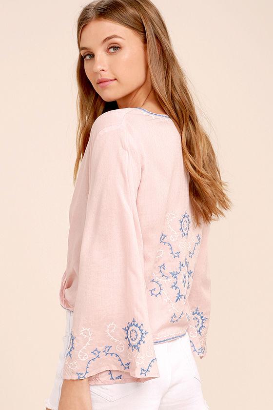 Zen Again Blush Pink Embroidered Crop Top 3