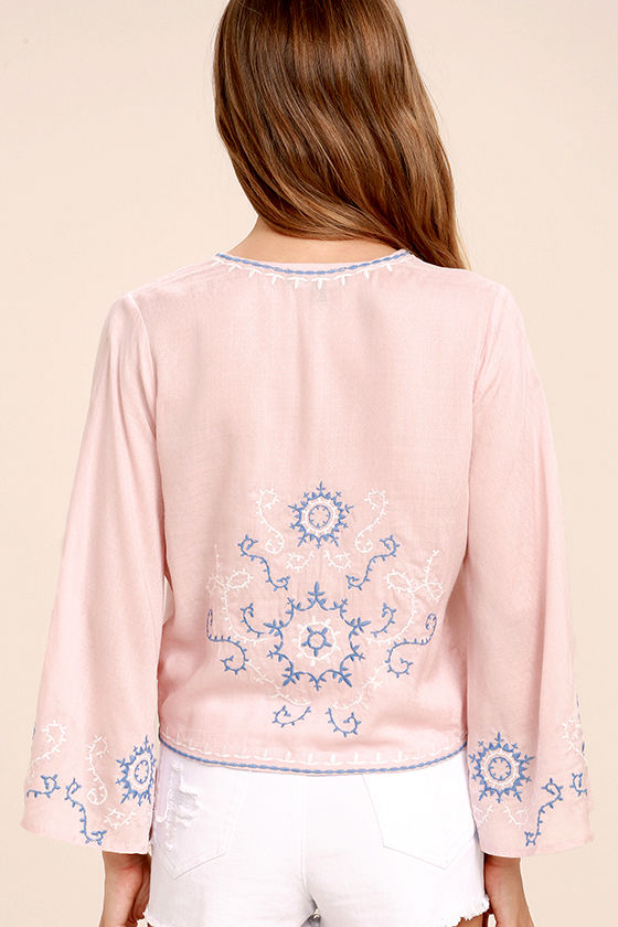 Zen Again Blush Pink Embroidered Crop Top 4